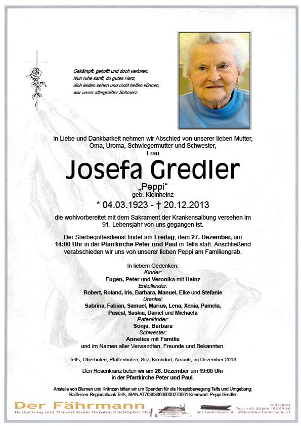 Todesanzeige Gredler Josefa