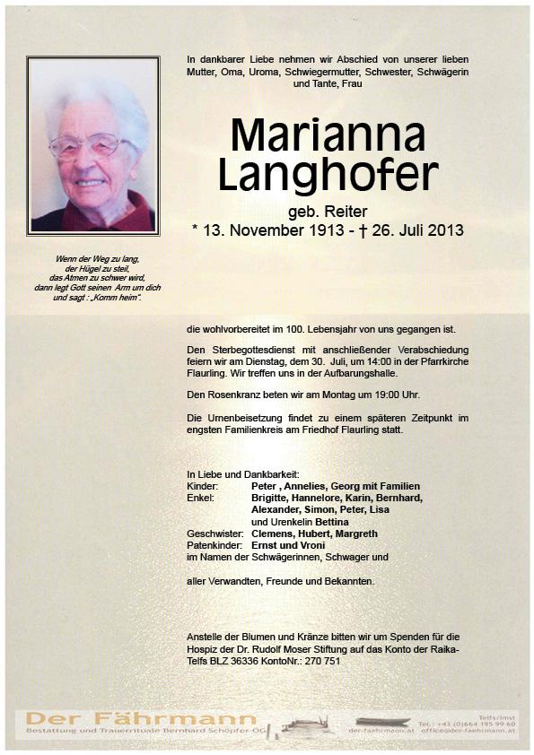 Todesnanzeige Langhofer Marianna