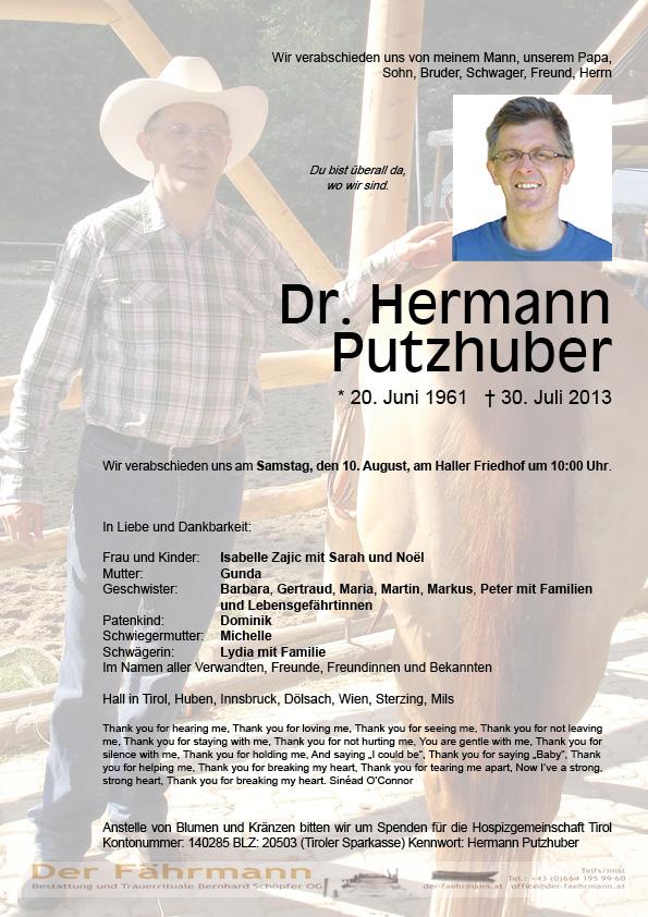 Todesanzeige Putzhuber Hermann