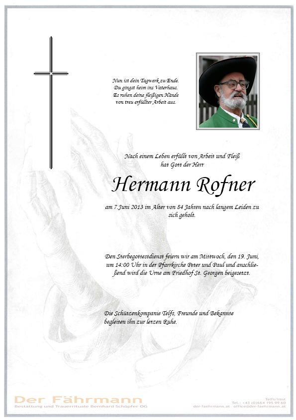 Traueranzeige Rofner Hermann