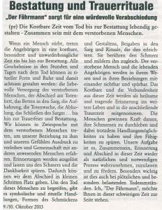 Bestattung und Trauerrituale Oberländer Rundschau 9.10.2013