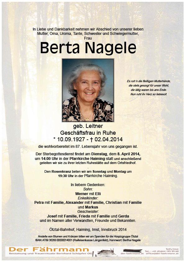 Todesanzeige Nagele Berta