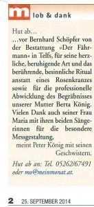 """""""Hut ab"""" im Mein Monat 2014 09"""