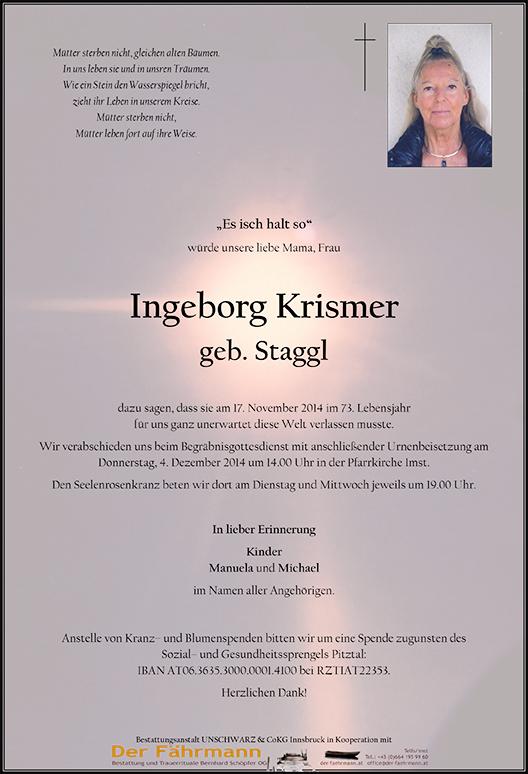 Sterbebild Krismer Ingeborg