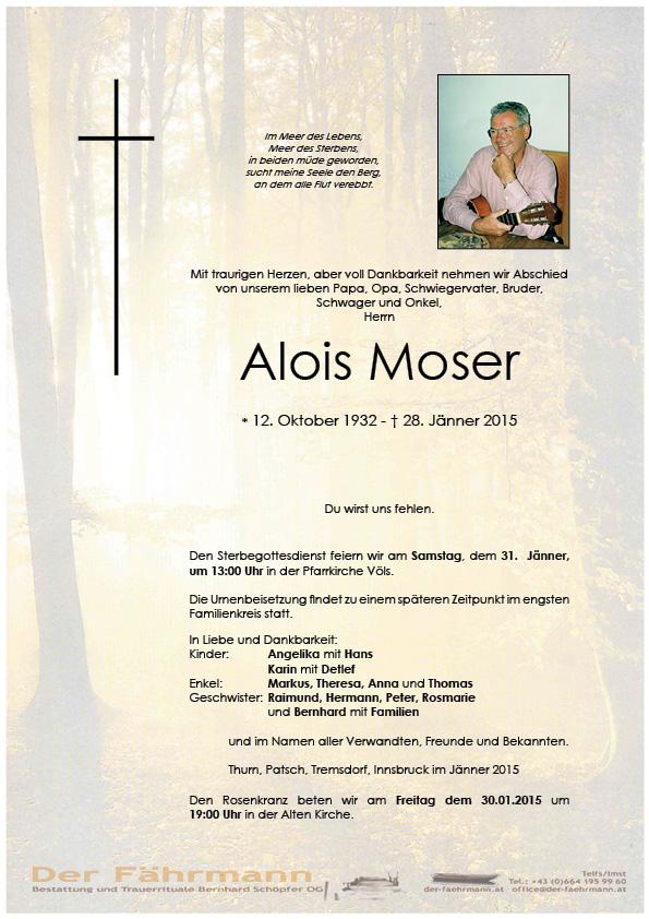 Todesanzeige Alois Moser