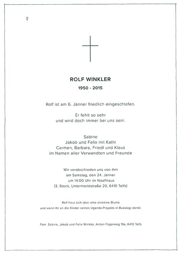 Sterbeanzeige Winkler Rolf