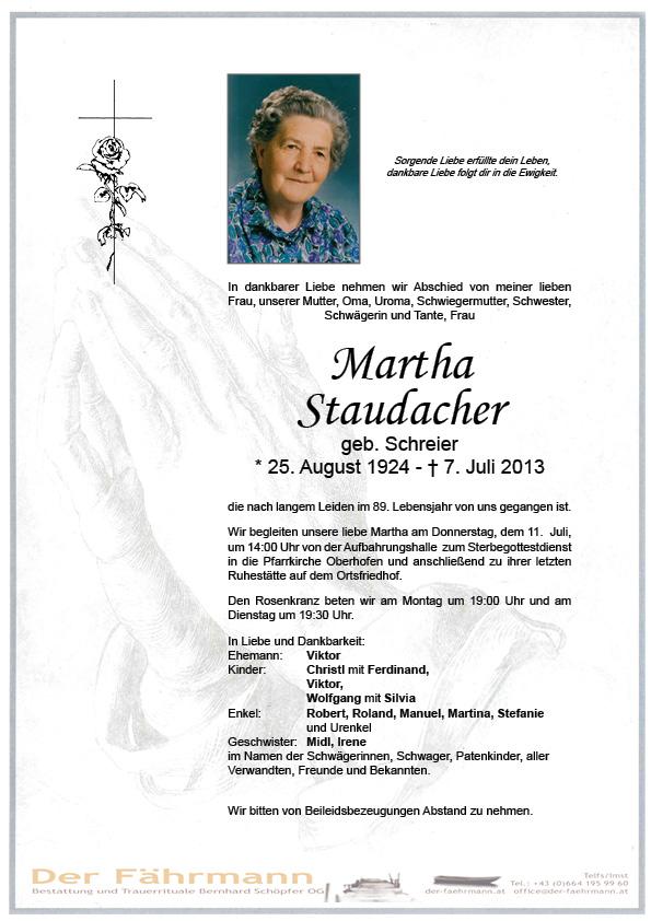 Todesanzeige Staudacher Martha