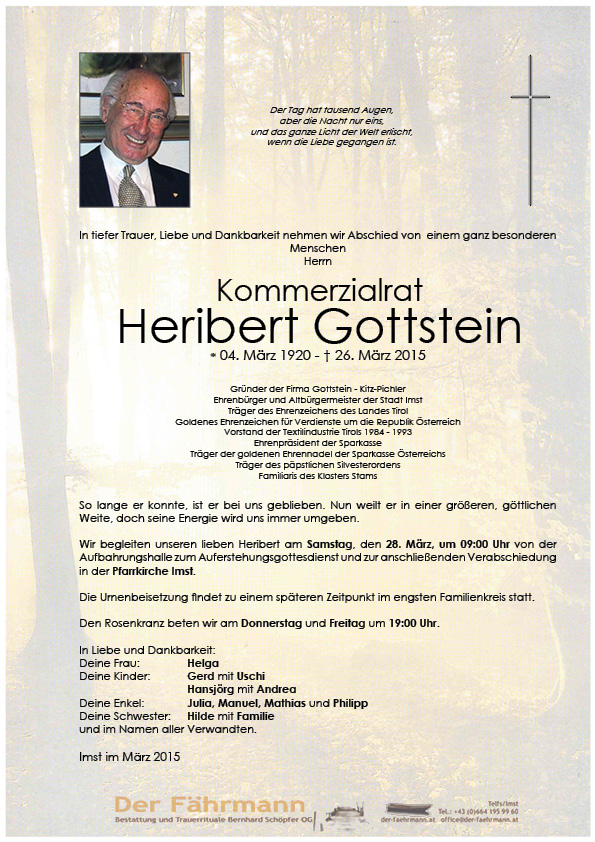 Todesanzeige Heribert Gottstein