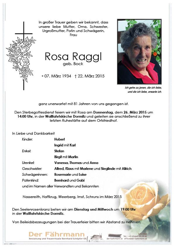 Todesanzeige Rosa Raggl