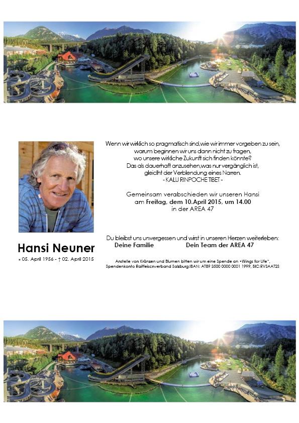 Todesanzeige Hansi Neuner