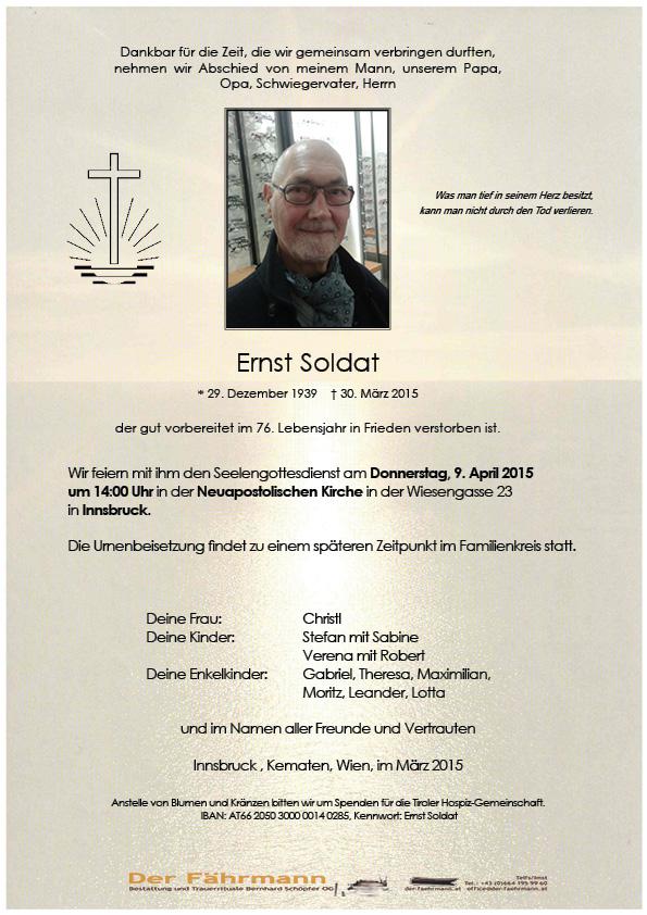 Todesanzeige Ernst Soldat