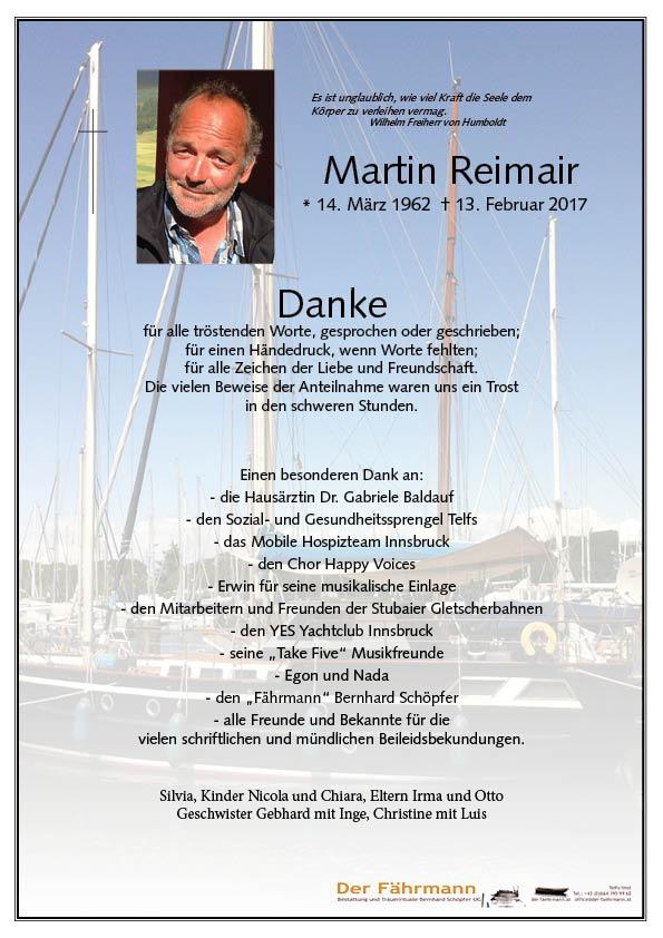 Danksagung Martin Reimair