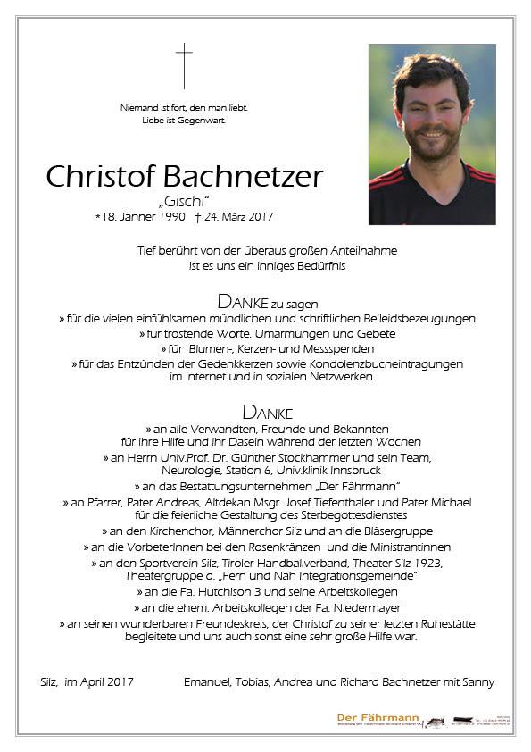 Danksagung Christof Bachnetzer