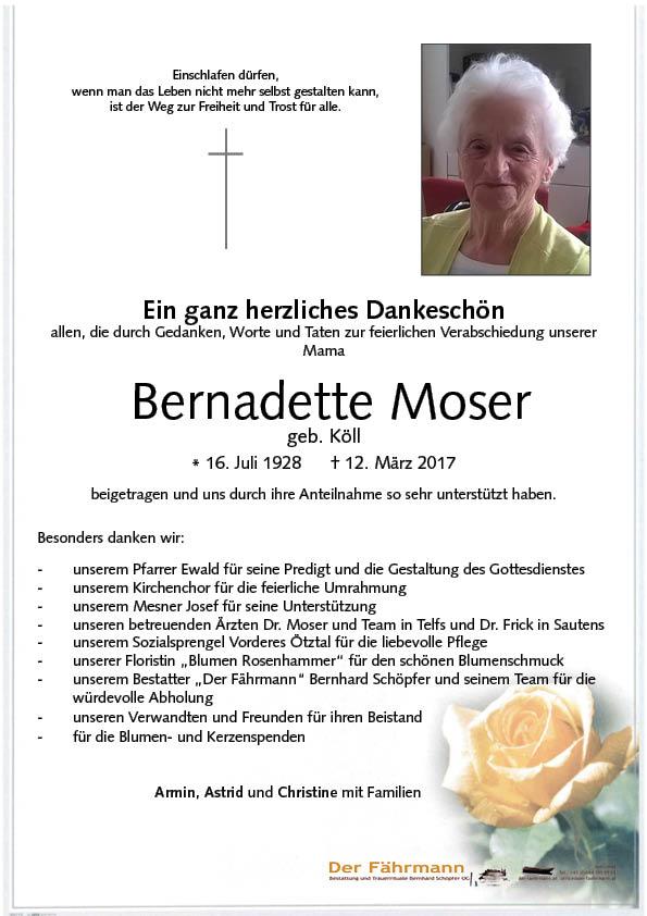 Danksagung Bernadette Moser