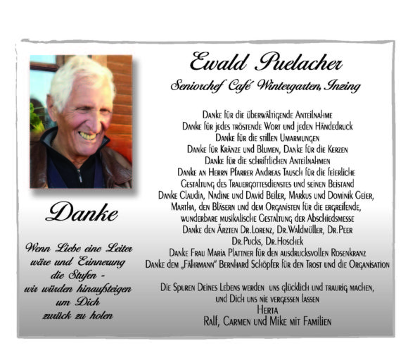 Danksagung Ewald Puelacher
