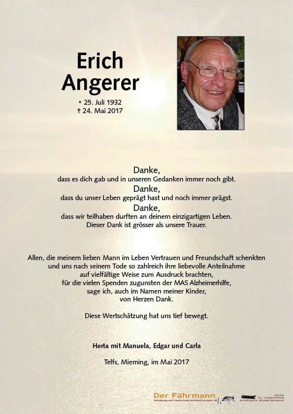 Danksagung Erich Angerer