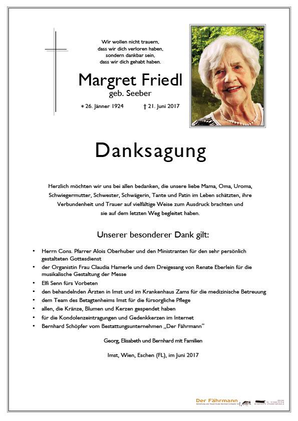 Danksagung Margret Friedl