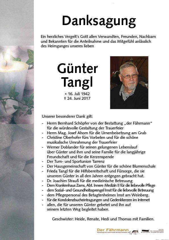 danksagung Günter Tangl