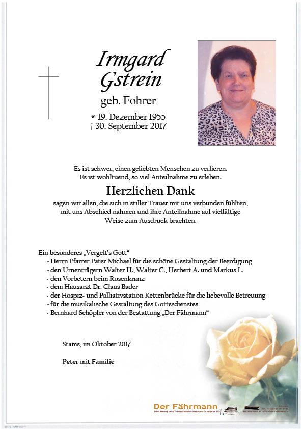 danksagung Irmgard Gstrein
