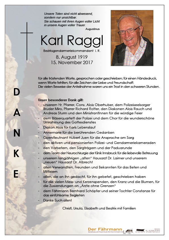 Danksagung Karl Raggl
