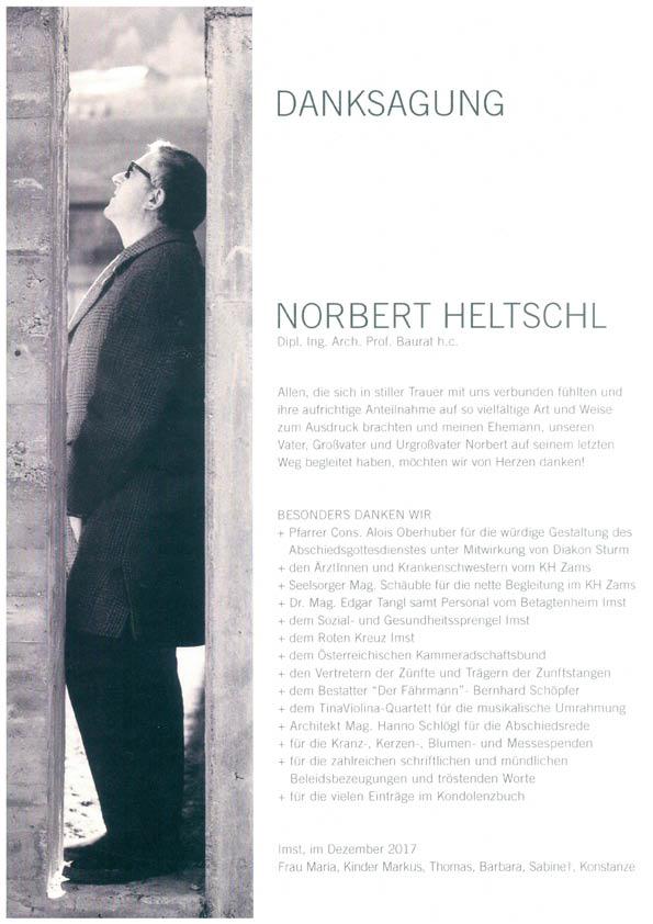 Danksagung Norbert Heltschl
