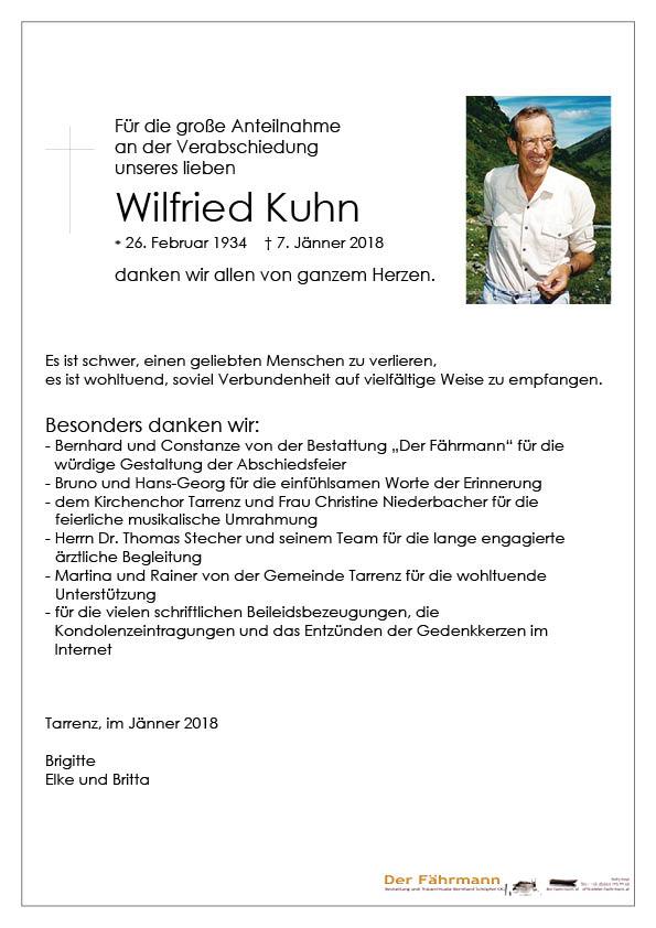 Danksagung Wilfried Kuhn