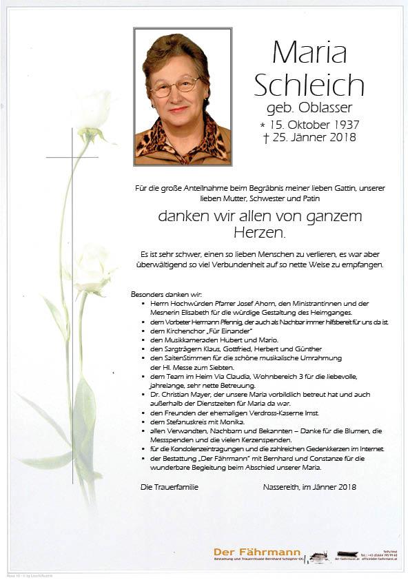 Danksagung Schleich Maria