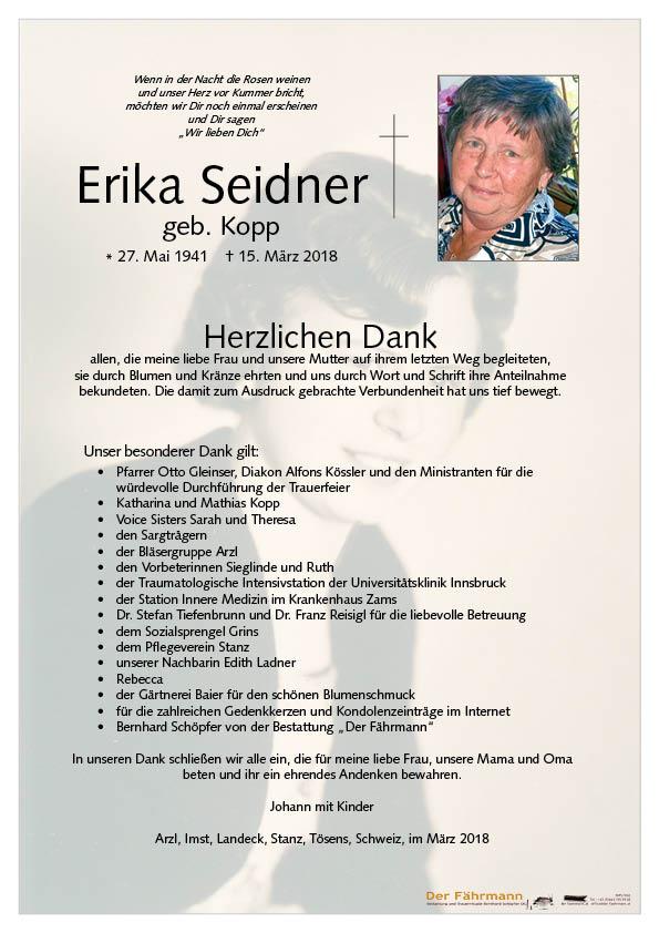 Danksagung Erika Seider