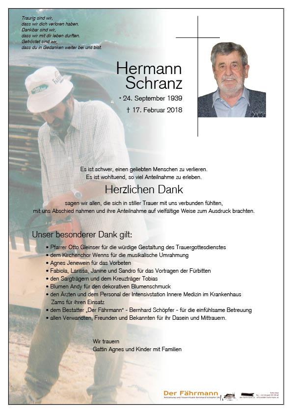 Danksagung Hermann Schranz