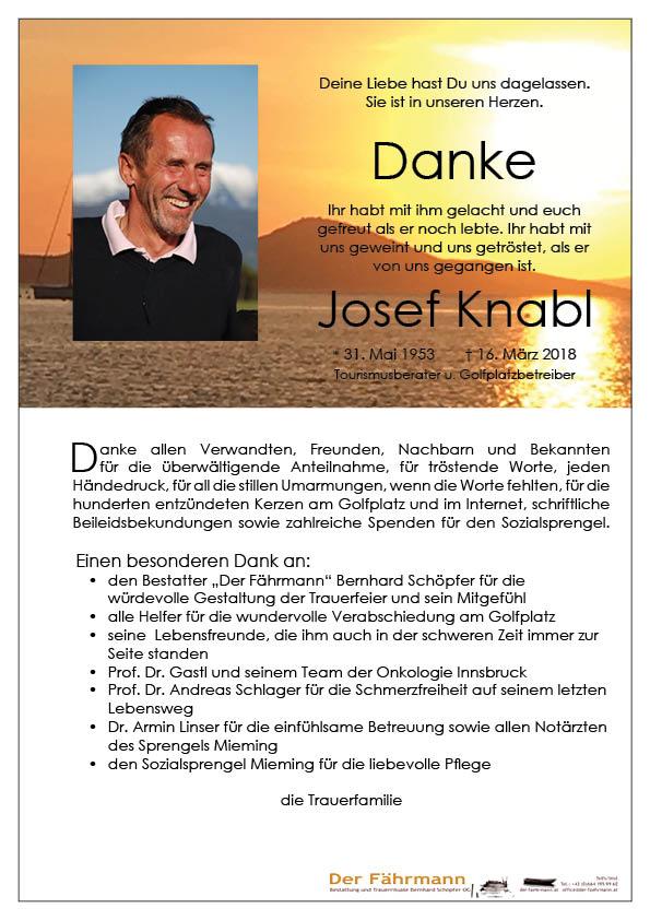 danksagung Knabl Josef