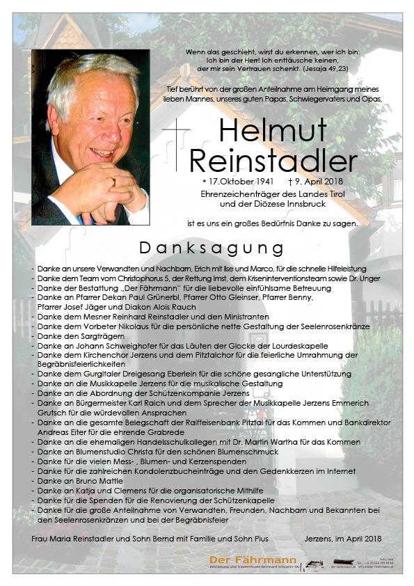 danksagung Helmut Reinstadler