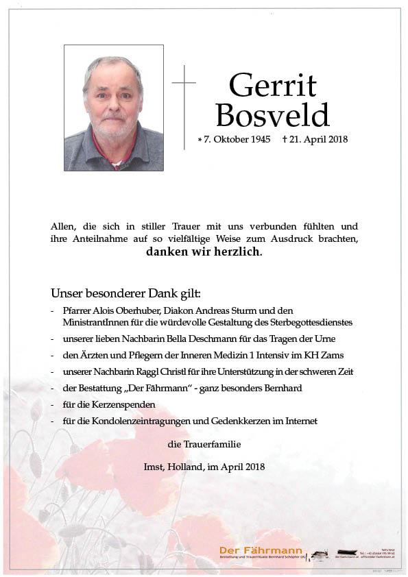 Danksagung Gerrit Bosveld