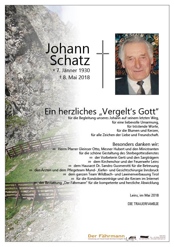 Danksagung Schatz Johann