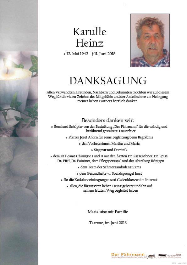 Danksagung Heinz Karuller