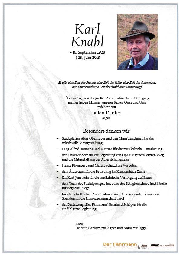 Danksagung Karl Knabl