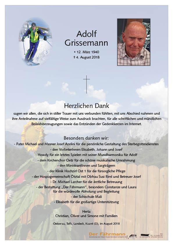 Danksagung Adolf Grissemann