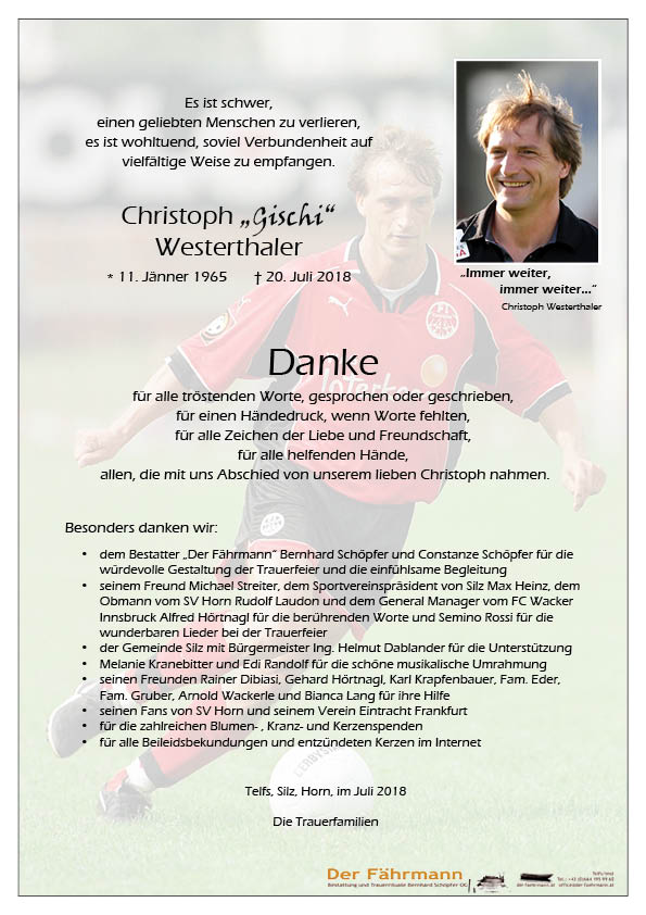 Danksagung Westerthaler Christoph