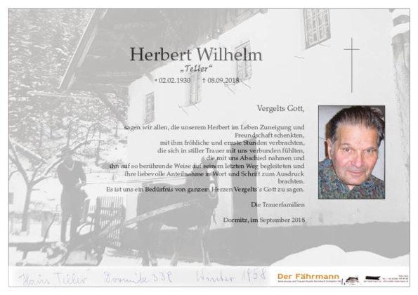 Danksagung Herbert Wilhelm