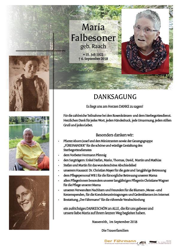 Danksagung Maria Falbesoner