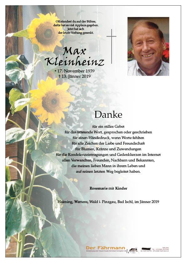 Danksagung Max Kleinheinz