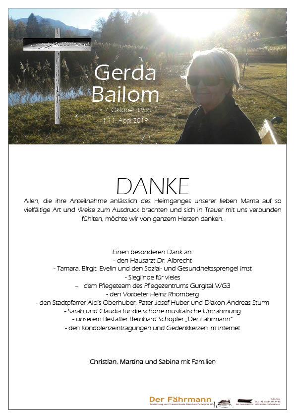 Danksagung Gerda Bailom