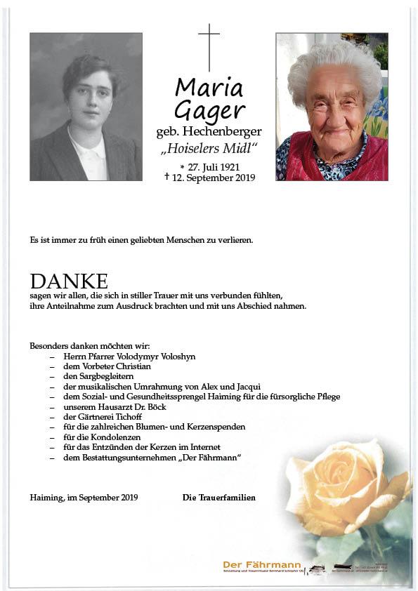 danksagung Maria Gager