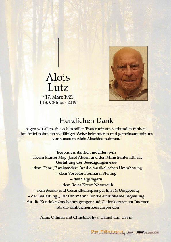 Danksagung Alois Lutz
