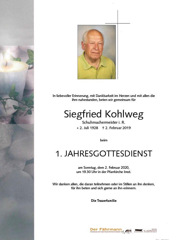 1. Jahrtag Siegfreid Kohlweg