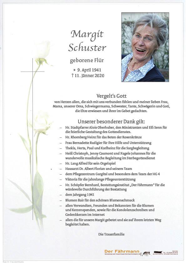 Danksagung Margit Schuster