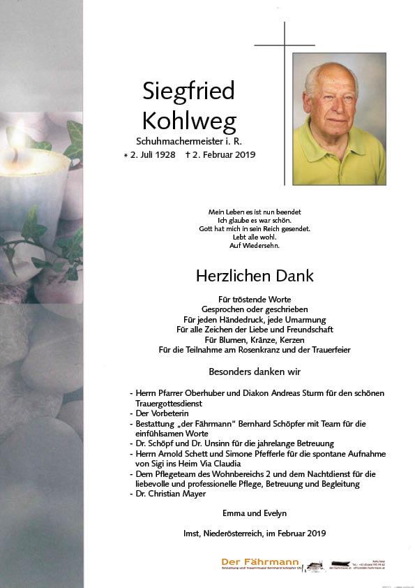 Danksagung Siegfreid Kohlweg
